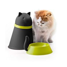 qualy kitt pet bowl with food storage black cat 1000