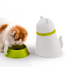 qualy kitt pet bowl with food storage white 2 1000
