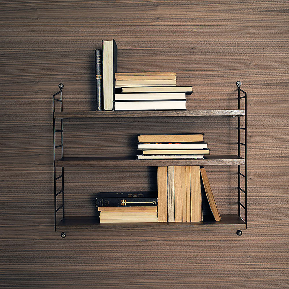 top3 by design string string pocket walnut shelves black. Black Bedroom Furniture Sets. Home Design Ideas